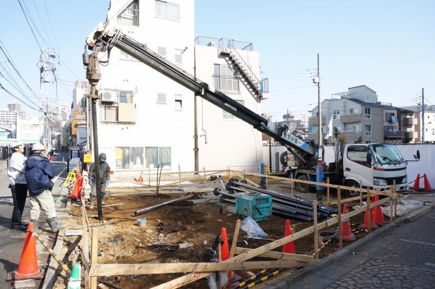 豊島区高田 木造2階建 くい打ち工事